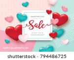 valentines day sale poster with ... | Shutterstock .eps vector #794486725