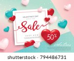 valentines day sale poster with ... | Shutterstock .eps vector #794486731