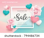 valentines day sale poster with ... | Shutterstock .eps vector #794486734