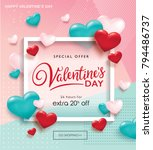 valentines day sale poster with ... | Shutterstock .eps vector #794486737