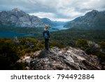 woman hiker stands and enjoys... | Shutterstock . vector #794492884