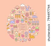 flat outline easter and spring...   Shutterstock .eps vector #794497744