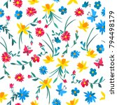 Stock vector seamless floral pattern with colorful flowers and butterflies 794498179