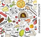 pizza seamless pattern hand... | Shutterstock .eps vector #794501479