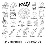pizza menu hand drawn sketch... | Shutterstock .eps vector #794501491