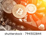the coin of bitcoin lies on... | Shutterstock . vector #794502844