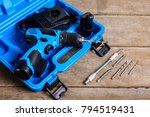 close up electric drill box set ... | Shutterstock . vector #794519431