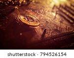 bitcoin token on a motherboard   | Shutterstock . vector #794526154