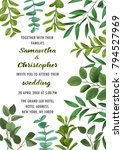 floral wedding invitation with... | Shutterstock .eps vector #794527969