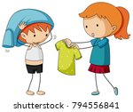 sister helping brother getting... | Shutterstock .eps vector #794556841