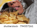 woman with her hand in a bag of ... | Shutterstock . vector #794557261