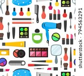 flat make up tools seamless... | Shutterstock .eps vector #794563291