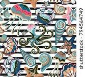 vector seamless pattern of... | Shutterstock .eps vector #794564749