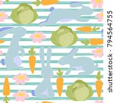 seamless little bunny pattern... | Shutterstock .eps vector #794564755