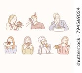 various characters eating cake. ... | Shutterstock .eps vector #794569024