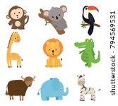 set of cute animal wildlife... | Shutterstock .eps vector #794569531