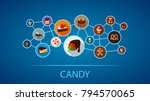 candy flat icon concept. vector ... | Shutterstock .eps vector #794570065