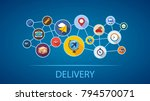delivery flat icon concept.... | Shutterstock .eps vector #794570071