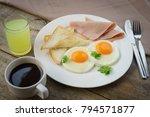 american breakfast on the wood... | Shutterstock . vector #794571877