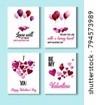 valentines day greeting cards ... | Shutterstock .eps vector #794573989