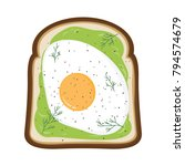 avocado toast with fried egg ... | Shutterstock .eps vector #794574679