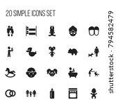 set of 20 editable folks icons. ...