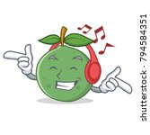 listening music guava mascot... | Shutterstock .eps vector #794584351
