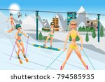 sports resort in the mountains... | Shutterstock .eps vector #794585935