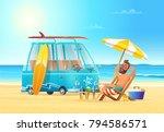 beach summer vacation. car... | Shutterstock .eps vector #794586571