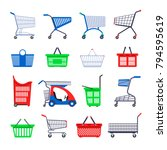 shopping carts or shop... | Shutterstock .eps vector #794595619