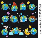 earth emoji smiles of planet... | Shutterstock .eps vector #794595649