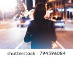 hipster girl in black leather... | Shutterstock . vector #794596084