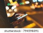 girl texting finger on screen... | Shutterstock . vector #794598391