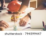 two architect man working with... | Shutterstock . vector #794599447