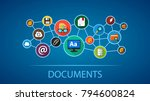 documents flat icon concept.... | Shutterstock .eps vector #794600824
