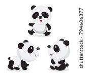 panda bear. vector illustration ... | Shutterstock .eps vector #794606377
