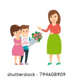 mother's day. children give to... | Shutterstock .eps vector #794608909