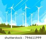 windmills on green fields. eco...   Shutterstock .eps vector #794611999
