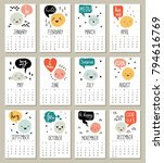 2018 monthly calendar with cute ... | Shutterstock .eps vector #794616769