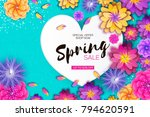bright origami spring sale... | Shutterstock .eps vector #794620591