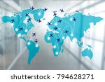 map with air lines and... | Shutterstock . vector #794628271