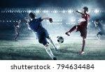 children play soccer. mixed...   Shutterstock . vector #794634484