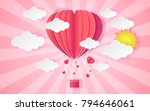 card valentine's day balloon... | Shutterstock .eps vector #794646061