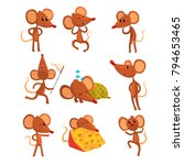 set of cartoon mouse character... | Shutterstock .eps vector #794653465