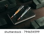 set of expensive military pens... | Shutterstock . vector #794654599
