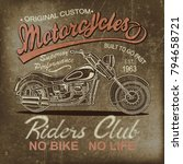 vintage  motorcycle  poster   t ... | Shutterstock . vector #794658721