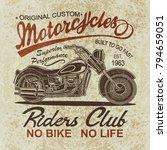 vintage  motorcycle  poster   t ... | Shutterstock . vector #794659051