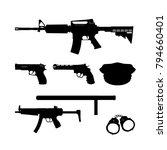 black silhouette of police gun... | Shutterstock .eps vector #794660401