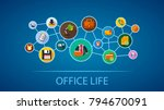 office life flat icon concept.... | Shutterstock .eps vector #794670091