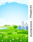 green landscape with flowers... | Shutterstock .eps vector #79468192